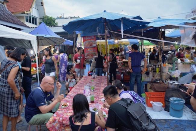 Chiang Mai Saturday Night food market tables
