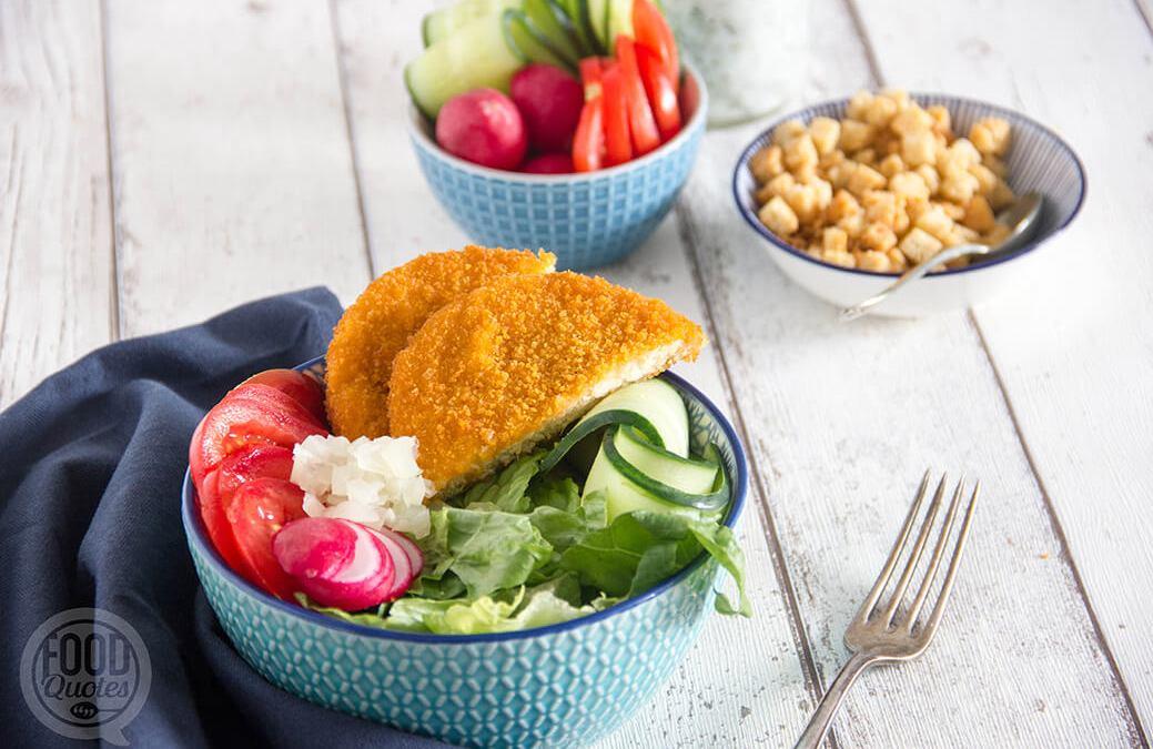 Saladebowl met vegan visburger