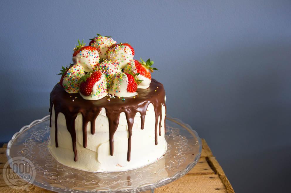 Dripcake met aardbeien