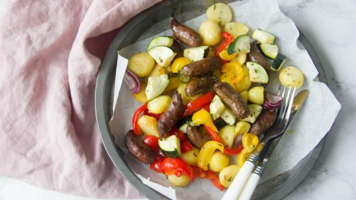 Groenten krieltjes worst uit de oven