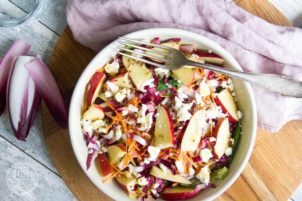 Salade met roodlof en appel