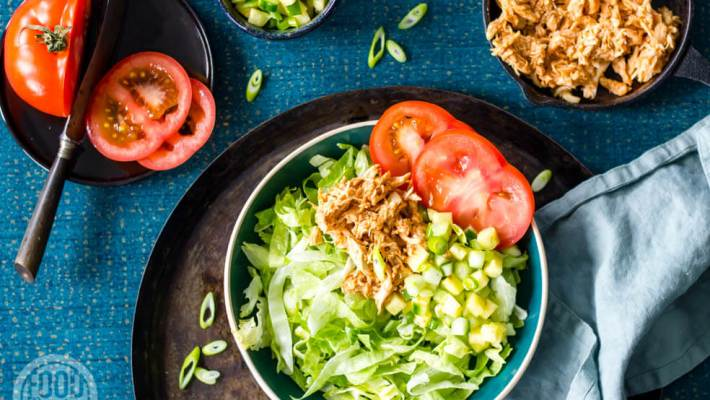 Salade pulled chicken-ananassalsa