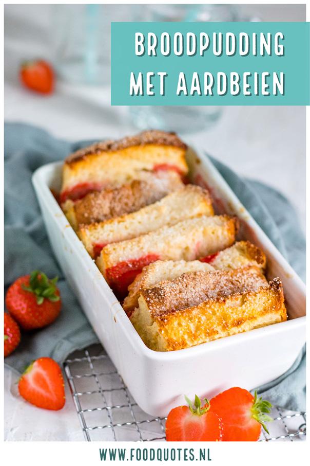 Broodpudding met aardbeien
