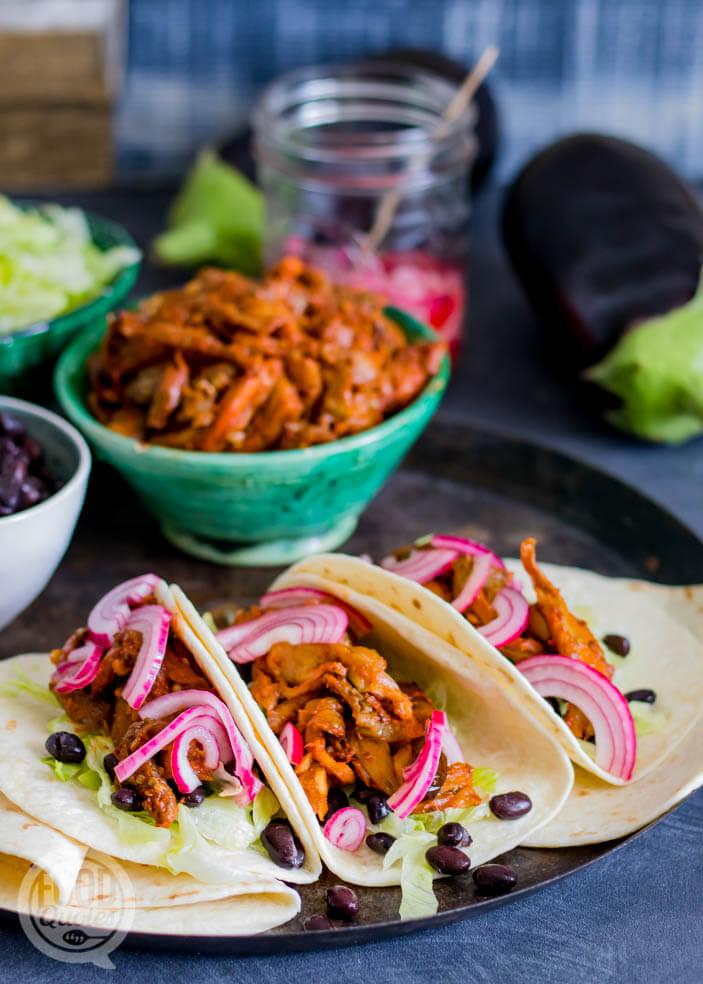 Taco's met pulled aubergine