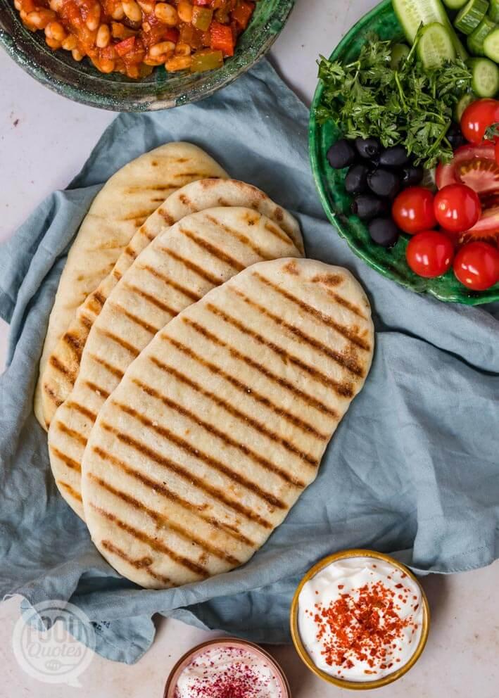 Turks platbrood van de grill