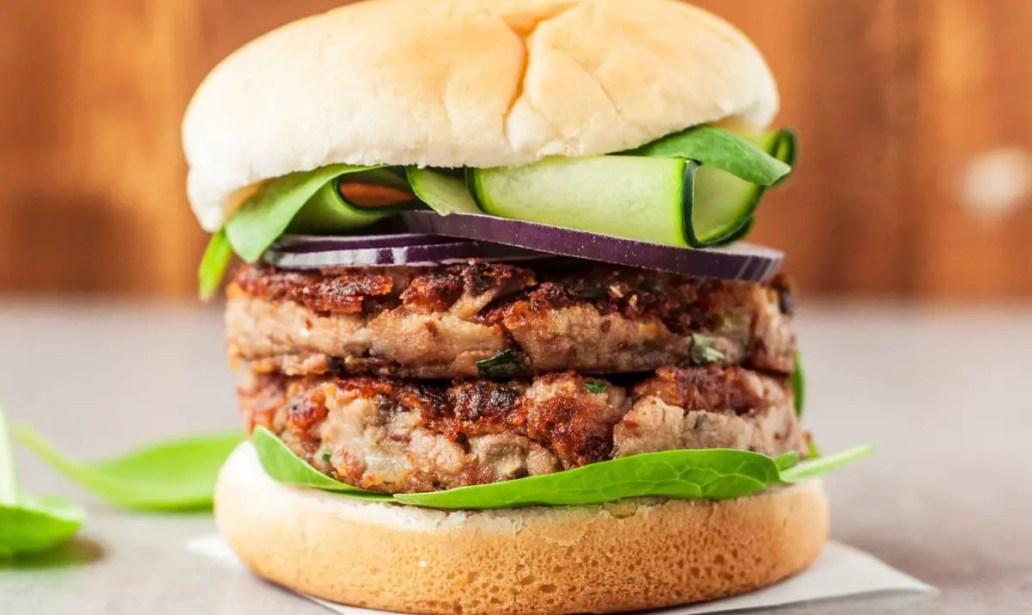 Veggie mushroom burger food recipes