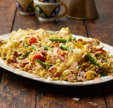 Mixed vegetable and almond biryani food recipes