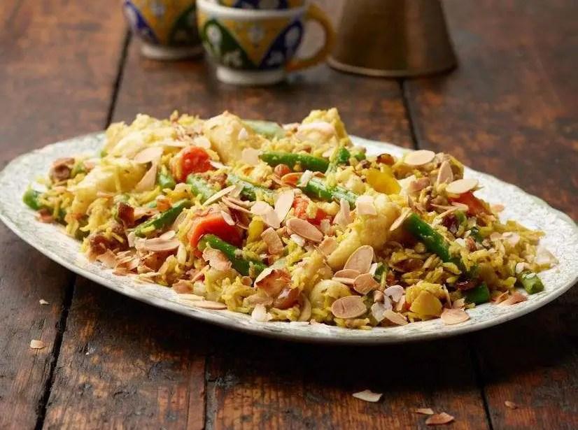 Mixed vegetable and almond biryani food recipes