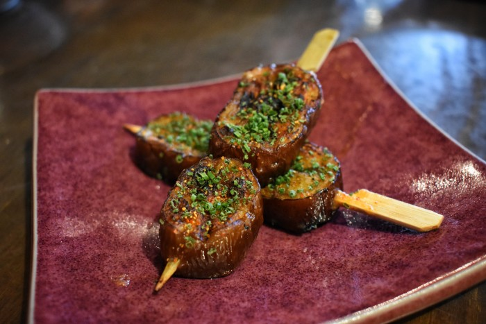Miso aubergine kebabs at COYA Mayfair