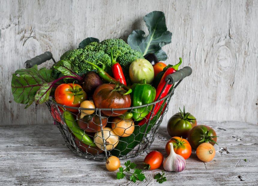 wire basket of vegetables