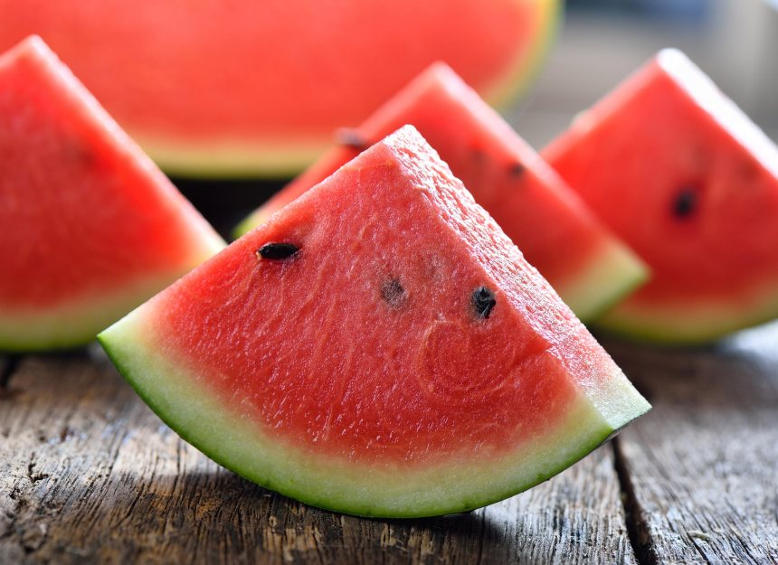 sliced watermelon on table