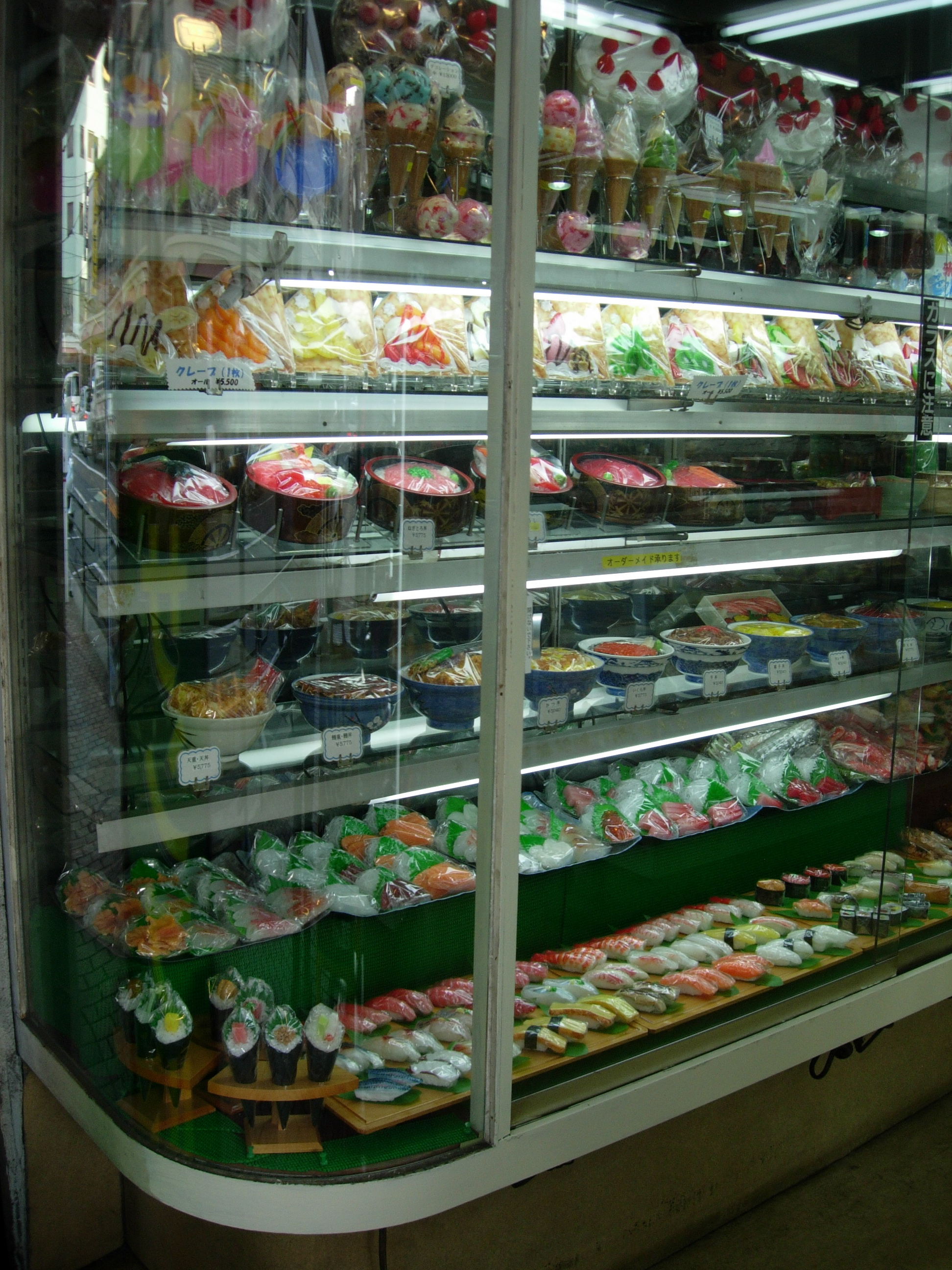 Sweets, crepes, donburi, sashimi, and sushi.