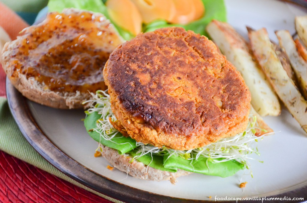 sweet-potato-chickpea-burger-with-apricot-mustard-and-rosemary-fries