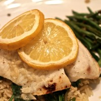 Free-for-All Friday: Lemon-Garlic Tilapia with Rice, Spinach and Spicy Lemon Green Beans