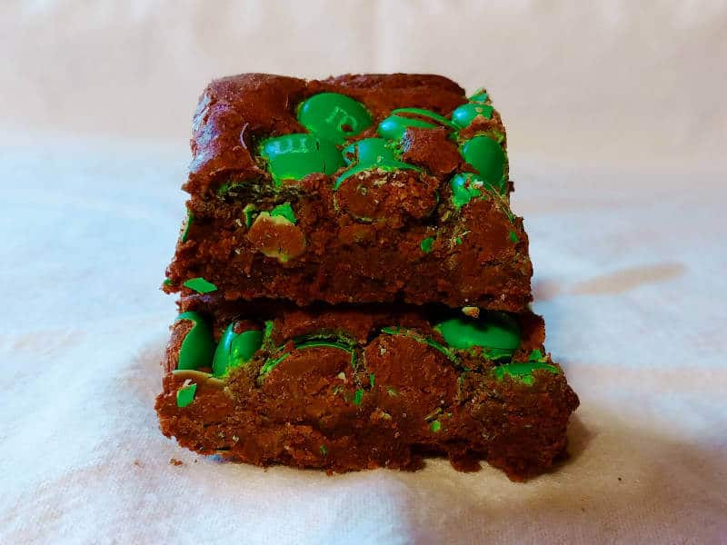 hershey's best brownies, with M&Ms, stacked one on top of the other
