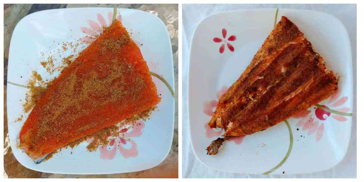 fennel spice rub on raw salmon, and on grilled salmon