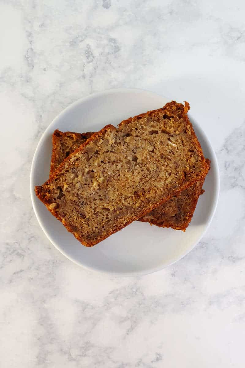 slices of banana bread, on a plate