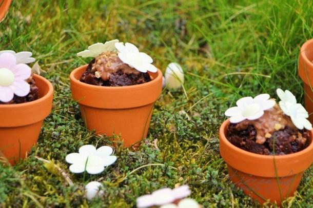 Crunchy-Schoko-Muffins im Blumentopf