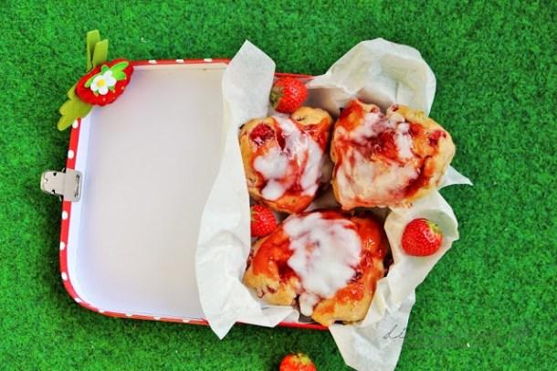 Strawberry Rhubarb Scones with Lemon Glaze