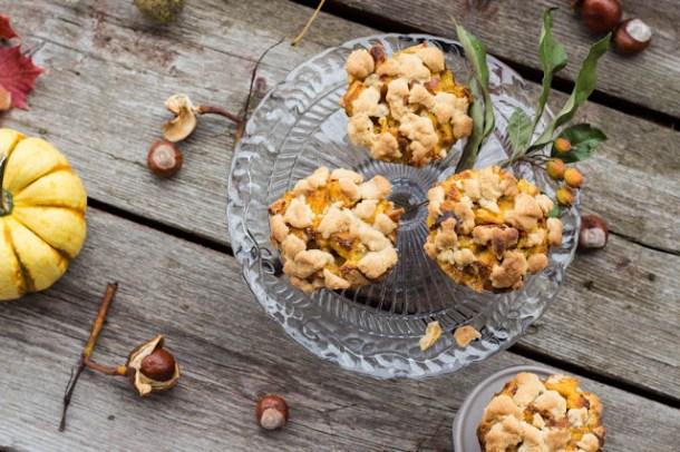 Kürbis French Toast Muffins mit Streusel