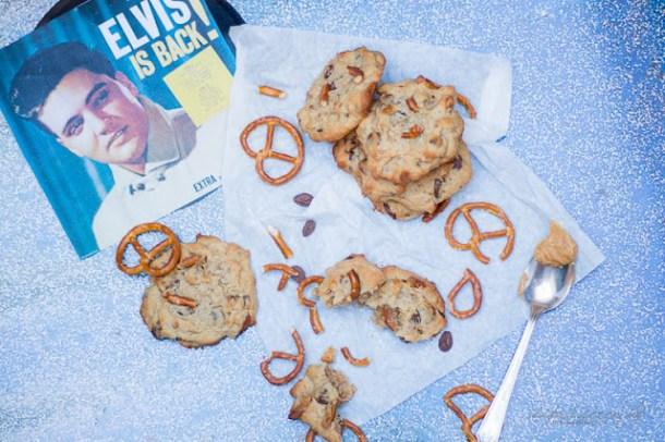 Elvis Cookies, Erdnussbutter, Banane, Salzbrezeln, Bacon