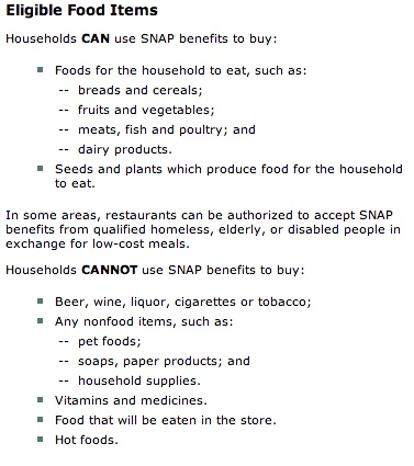 """what you can buy with SNAP Benefits Card"""