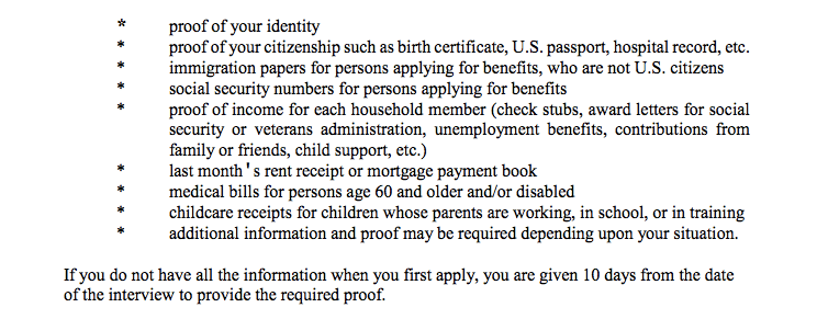 """Georgia food stamps application interview documents"""