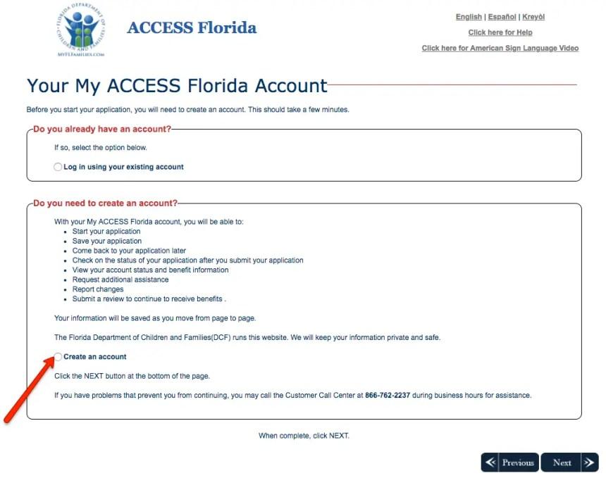 """Create Florida MyACCESS account No case number"""
