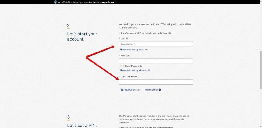 Create My.La.gov Account