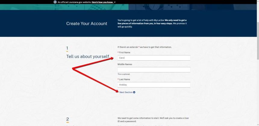 My.La.gov Account Registration