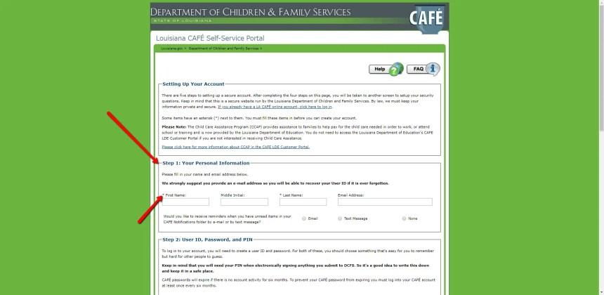 Setup LA CAFE Online Account