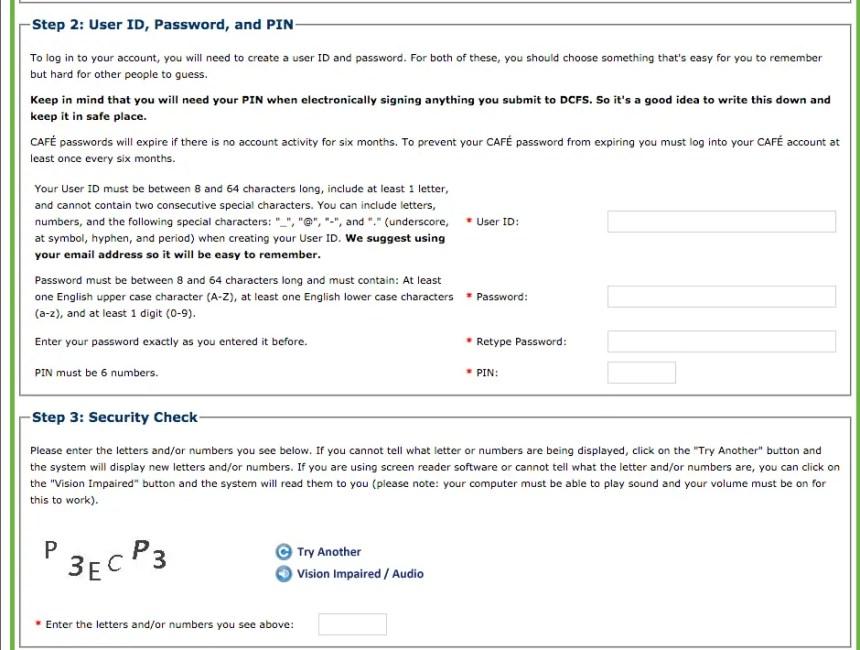 """dcfs.la.gov LA CAFE Create Account - step 2 and 3"""