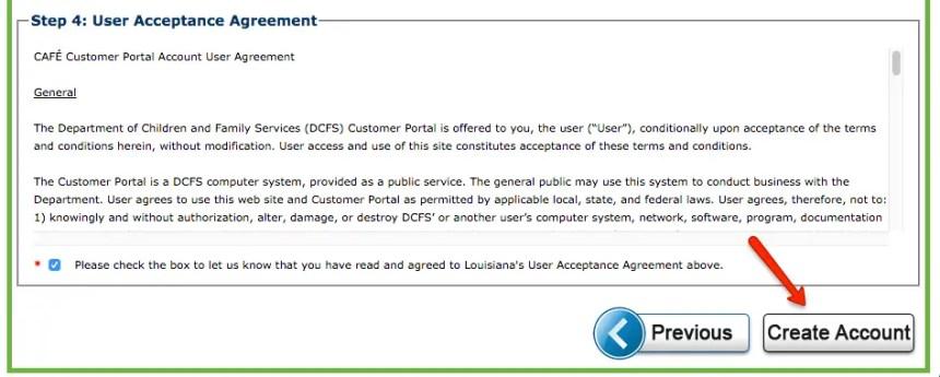 """dcfs.la.gov LA CAFE Create Account - step 4"""