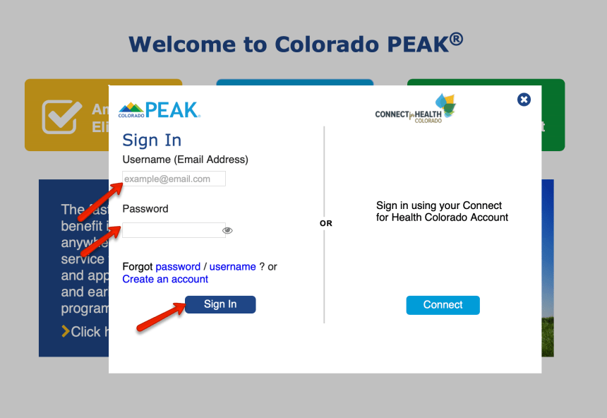 Colorado PEAK Login 2
