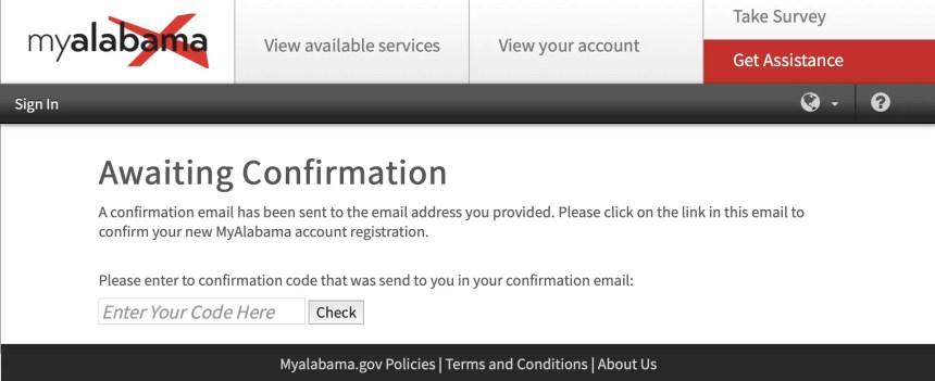 My Alabama Account Confirmation