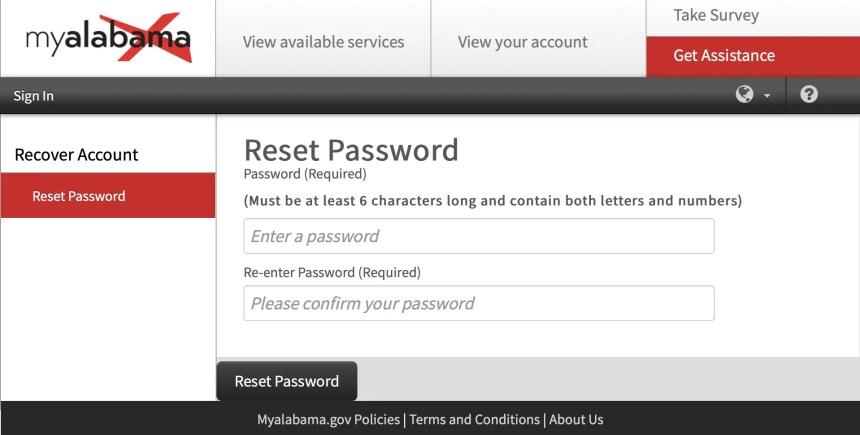 My Alabama Account Password Reset