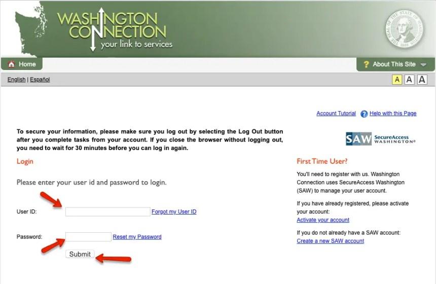 """DSHS Washington Connection Account Login - 1"""