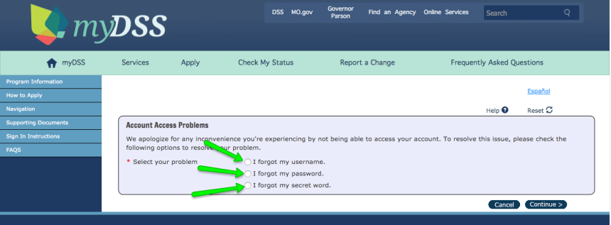 """Mydss Missouri login - forgot username and password"""