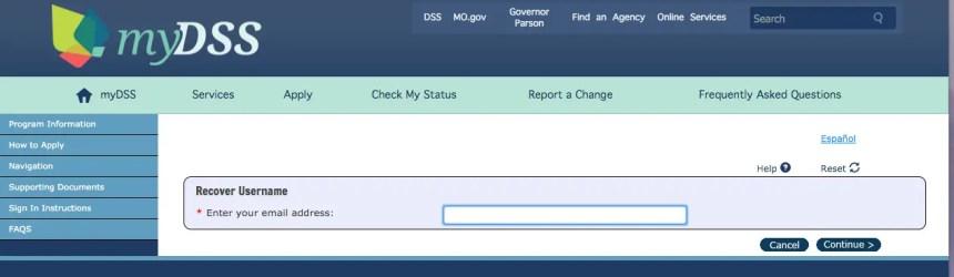 """Mydss Missouri login - forgot username"""