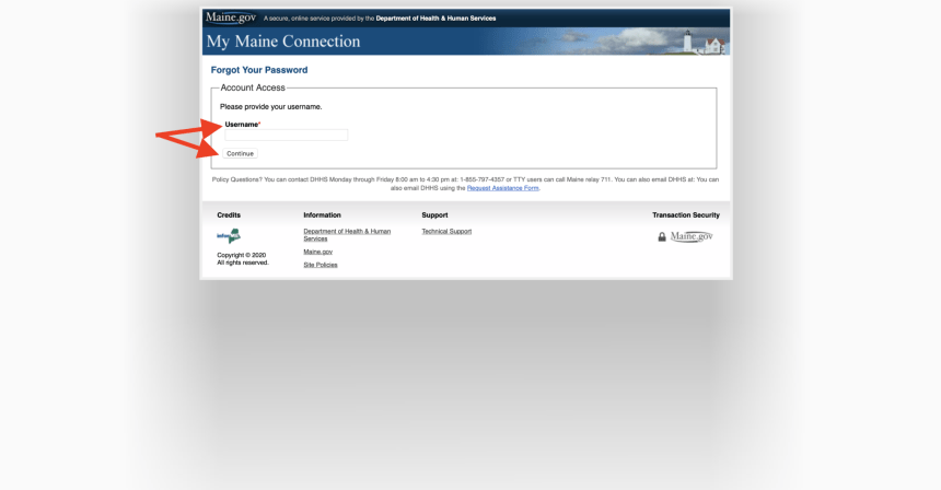 Reset My Maine Connection Password