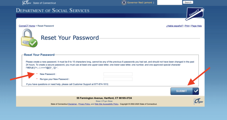 Connect CT gov Password Reset Instructions