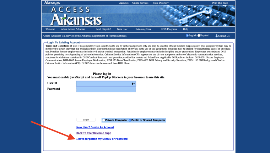 Forgot Access Arkansas User ID