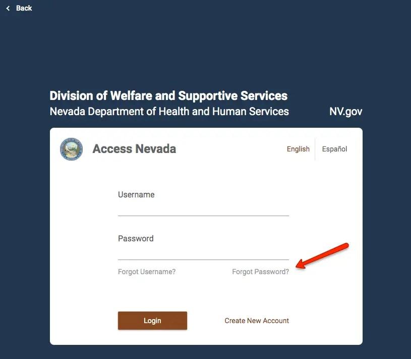 """How to reset Access Nevada Password"""