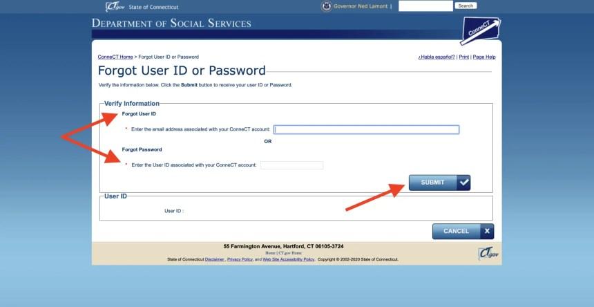 connect ct gov reset password
