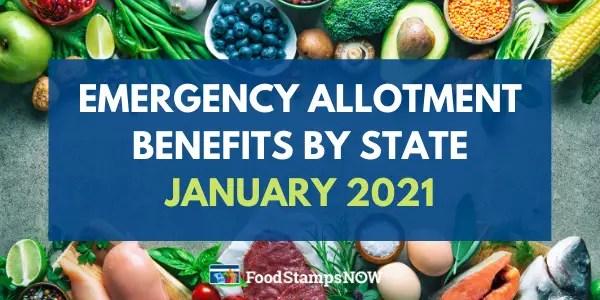 Emergency Allotment EA Benefits - January 2021