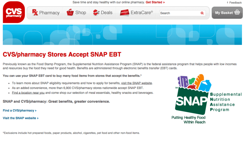 """Does CVS accept EBT Card Food Stamps"""