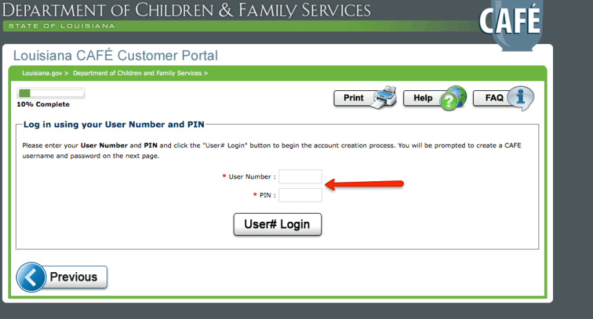 """Create LA CAFE Account if you have USER ID and PIN"""