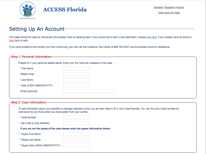 """My ACCESS Florida Create New Account"""