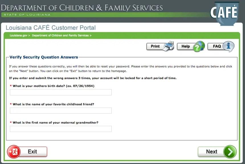 """Louisiana LA CAFE Password Reset Questions"""