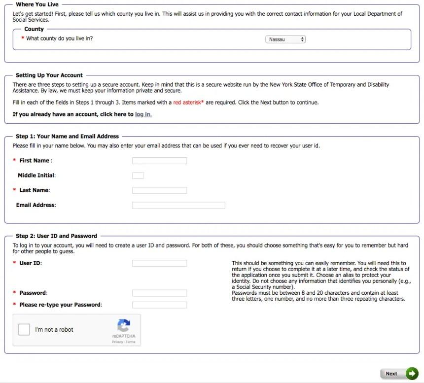 """Mybenefits.ny.gov Create an Account Step 1"""